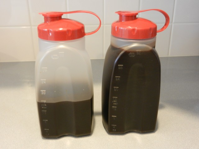 Cold brewed coffee concentrate, storage containers