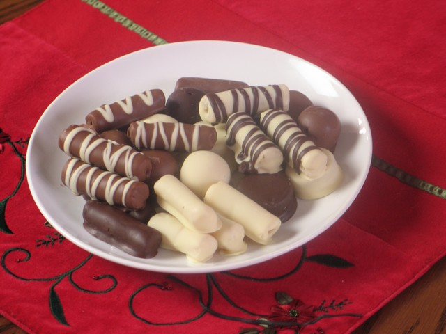 Marzipan chocolate Christmas treats
