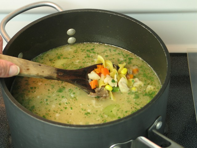 Turkey noodle soup, cooking