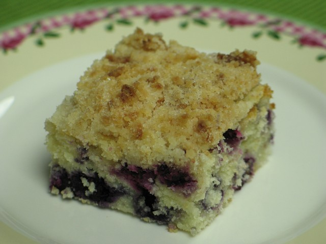 Blueberry cream cheese coffee cake, slice