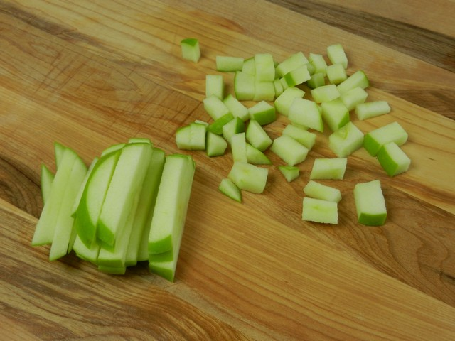Cutting apples into pieces