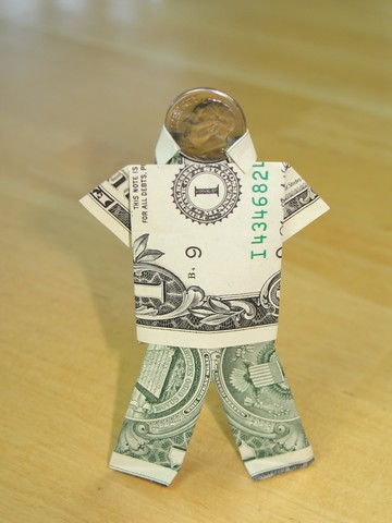 Paper Money Origami With American Dollar Bills Shirt Tie The
