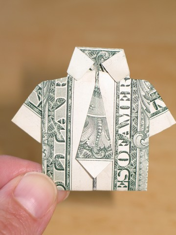 paper money origami with american dollar bills shirt