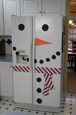 Snowman fridge for Christmas and winter decor