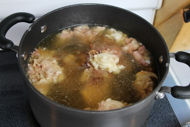 Making ham bone stock