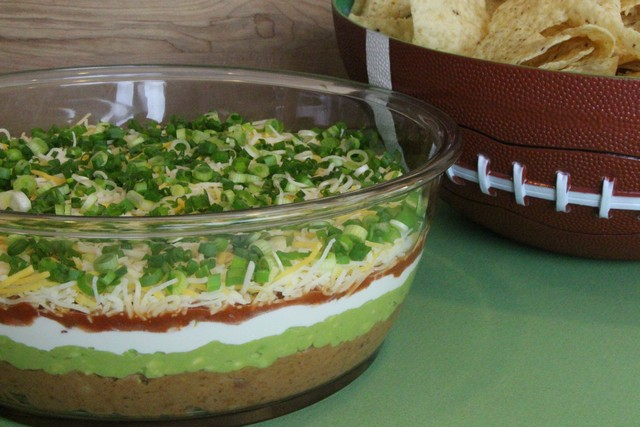 Party Appetizer Six Layer Taco Guacamole Dip The