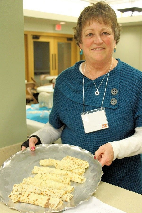 Serving lefse rolled up on serving tray