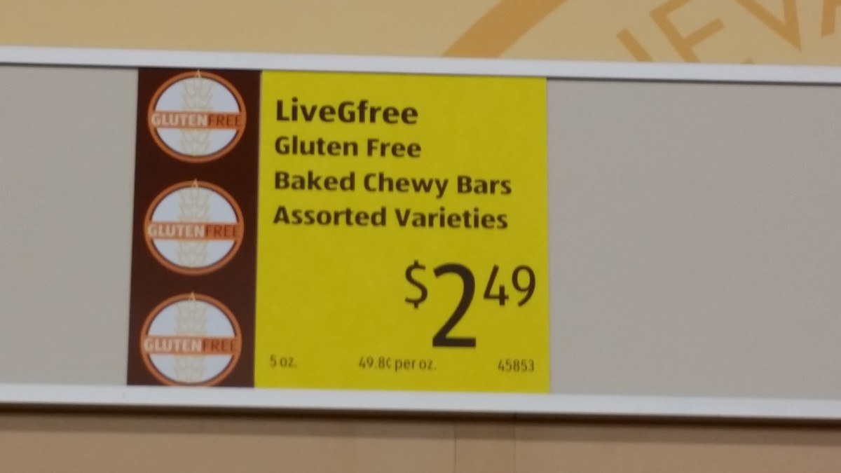 Aldi, gluten free products, this is what the labels at the store look like.