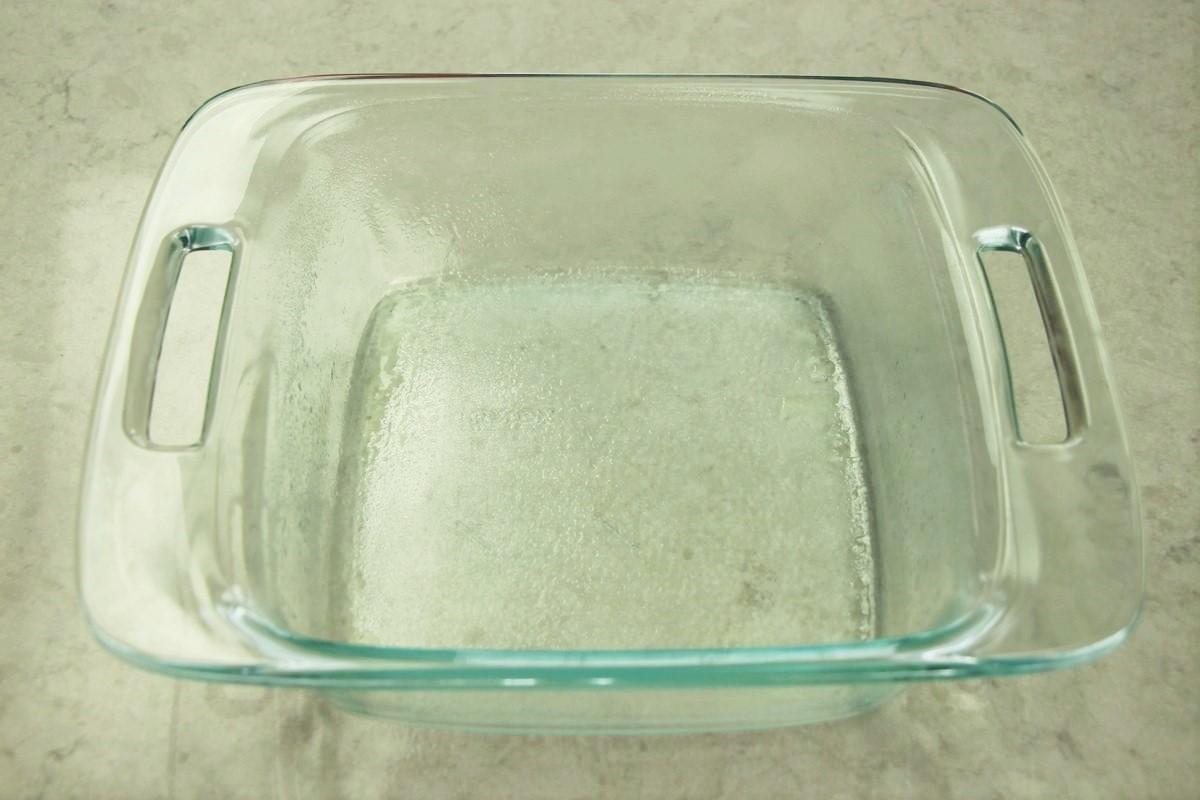 Greasing 9 x 9 glass pan