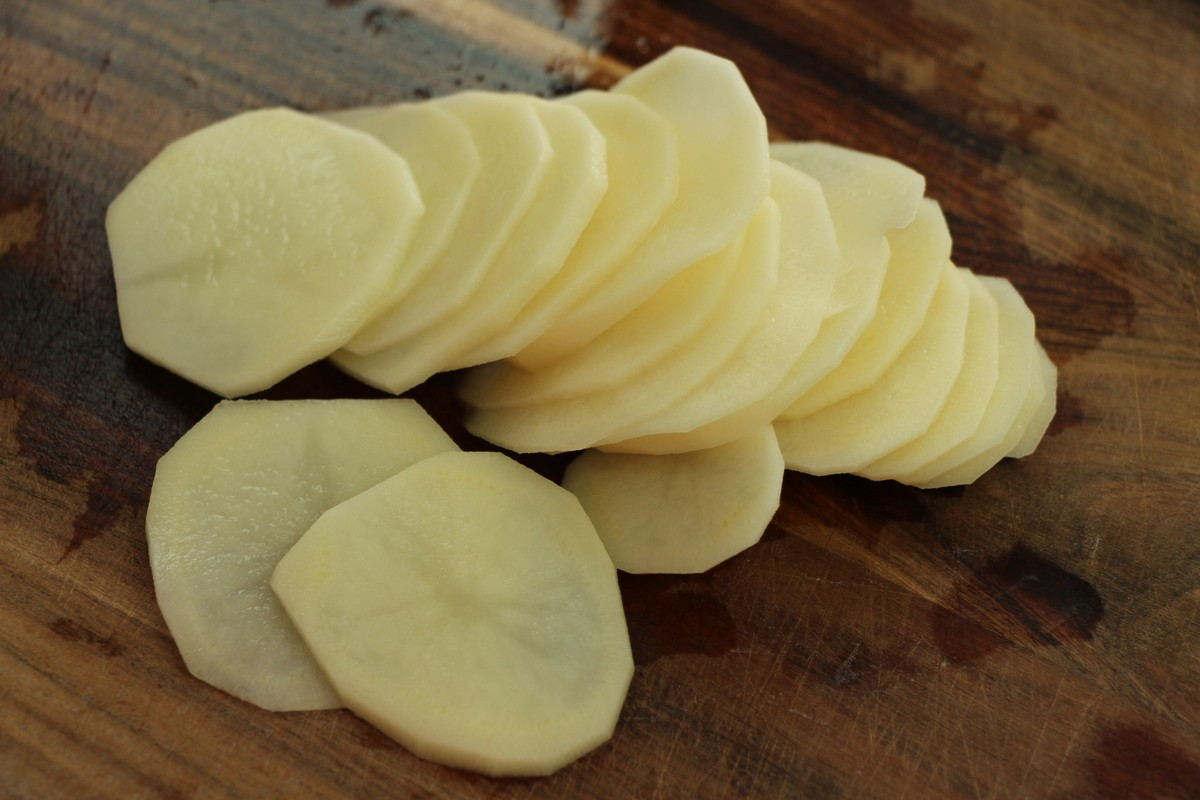 Sliced potatoes for ultimate cheese & cream scalloped potatoes