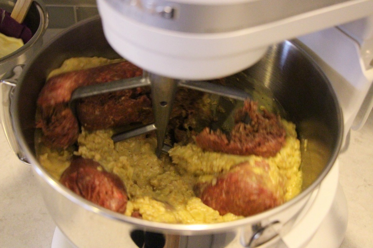 Mixing ingredients for Grandma's old fashioned meatloaf recipe. Picture tutorial.