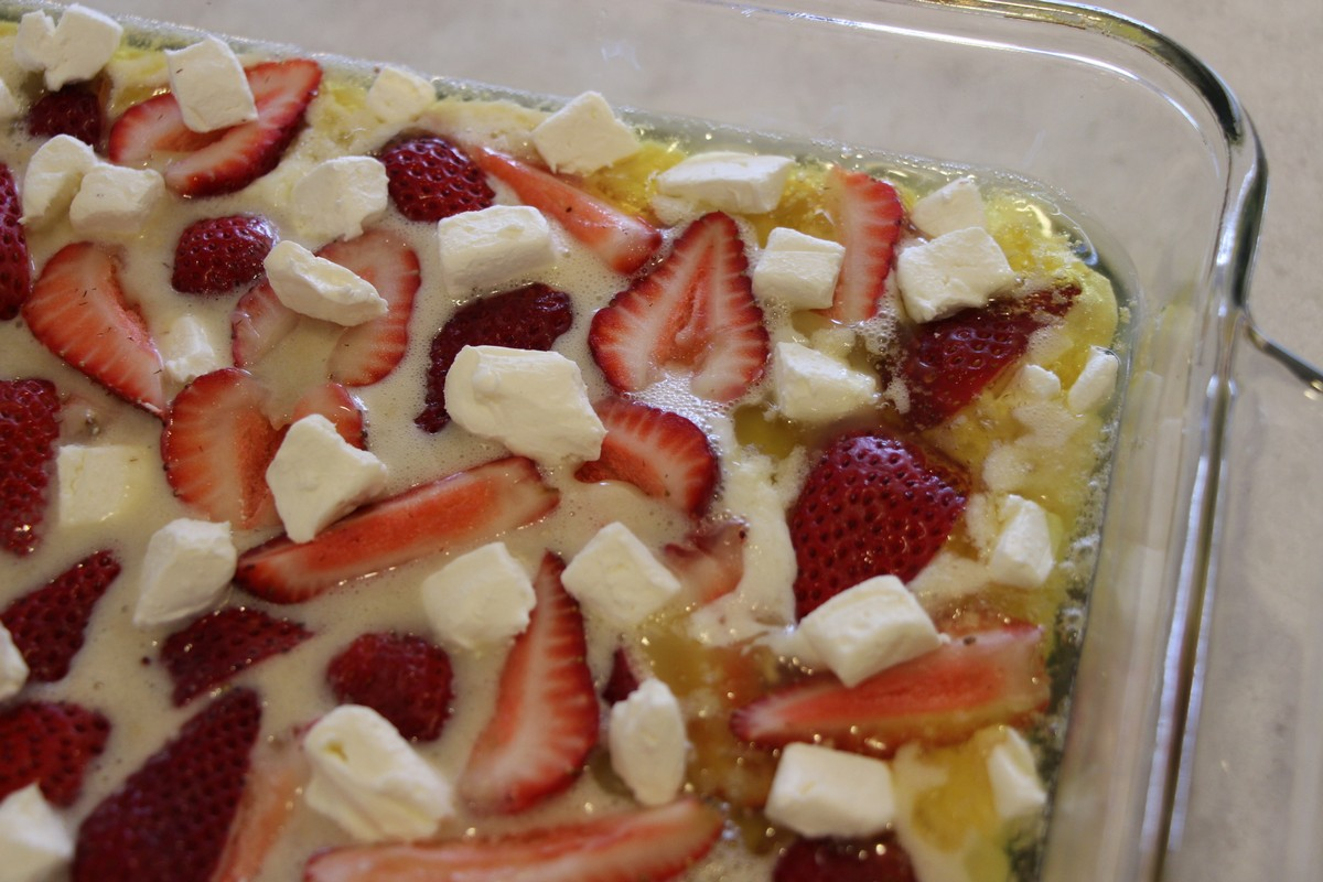 Strawberry Cream Cheese Cobbler Recipe with picture tutorial. Easy and delicious! Can adjust amount of berries and cheese to your own liking.