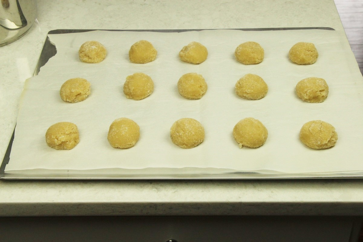 Sugar cookie dough on cookie sheet.