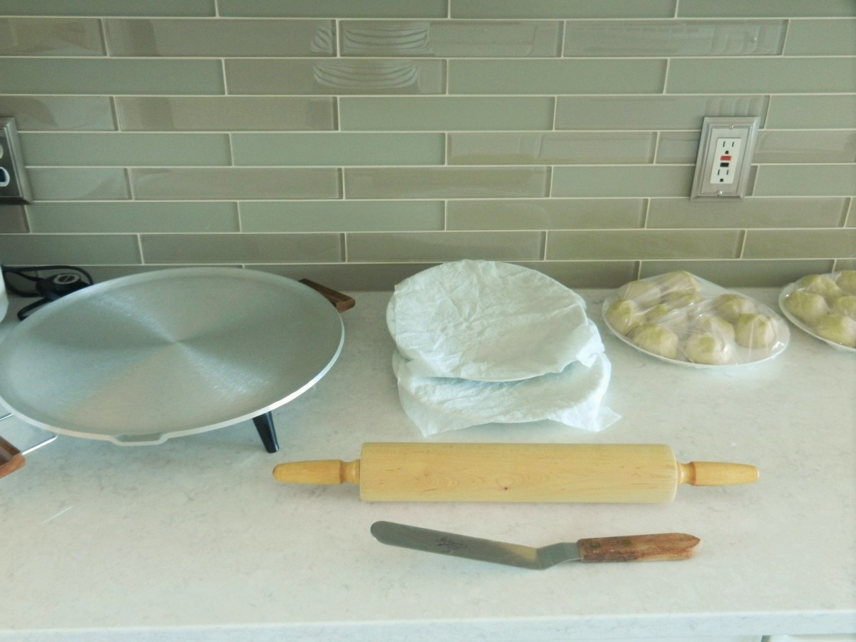 Preparing to make soft, homemade flour tortillas; picture recipe