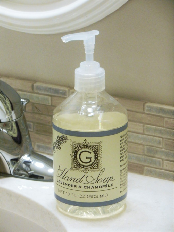 A look at ingredients and safety in soaps and lotions at Trader Joe's. Lavender & Chamomile Hand Soap.