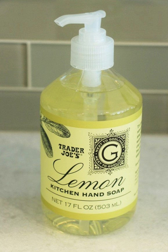 A look at ingredients and safety in soaps and lotions at Trader Joe's. Lemon Hand Soap.