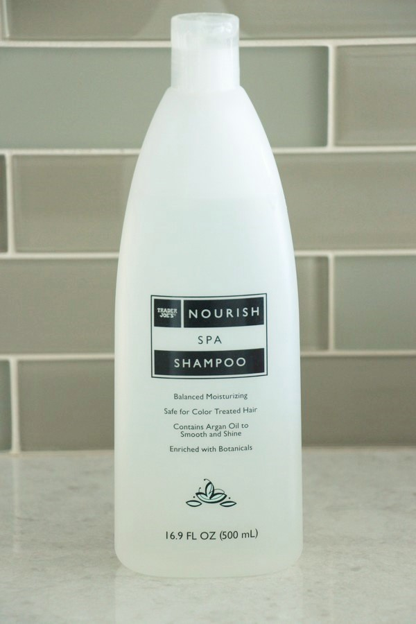 A look at ingredients and safety in soaps and lotions at Trader Joe's. Nourish Spa Shampoo.