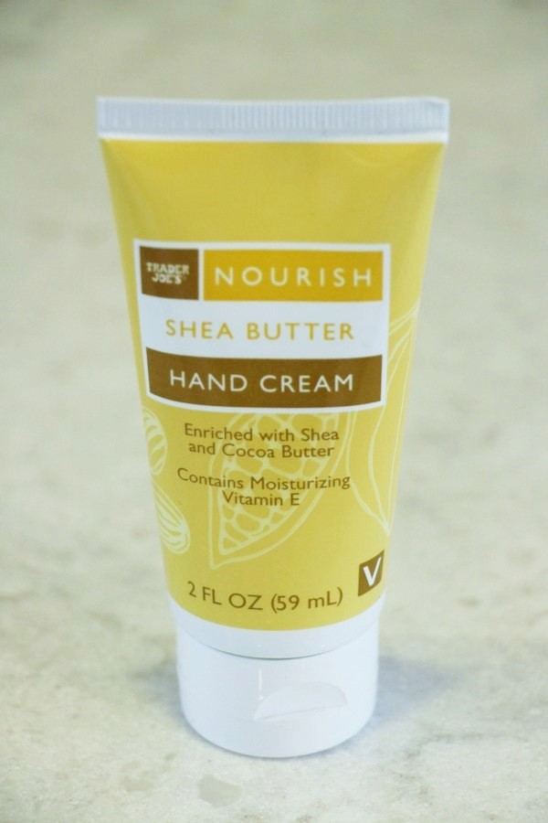 A look at ingredients and safety in soaps and lotions at Trader Joe's. Nourish Shea Butter Hand Cream.